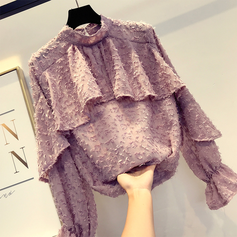 Fall New Women Blending Ruffle Loose Pullover Shirts Ladies Fur Polka Dot Puff Sleeves Blouse Suits Female Stand Collar Tops