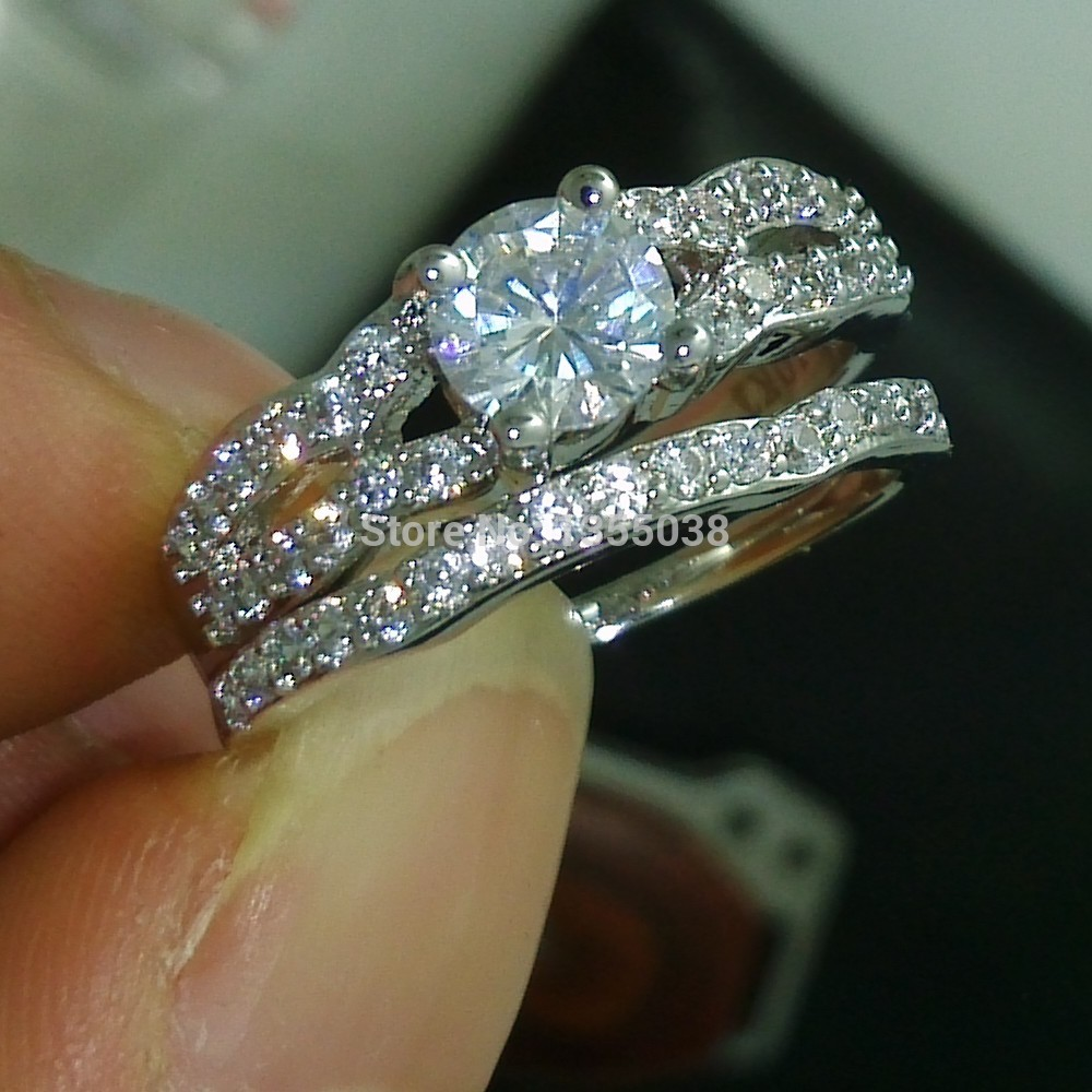 Fashion Jewelry Nice Engagement Jewellery Aaaaa Zircon Cz 10kt White Gold  Filled Wedding Ring Set Sz