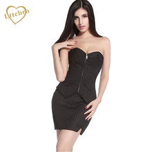 Black Pinstripe Corset Dress Office Sexy Women Lace up Bustier Suit Costume Lady Slim Set Waist Overbust Burlesque Corset Skirt