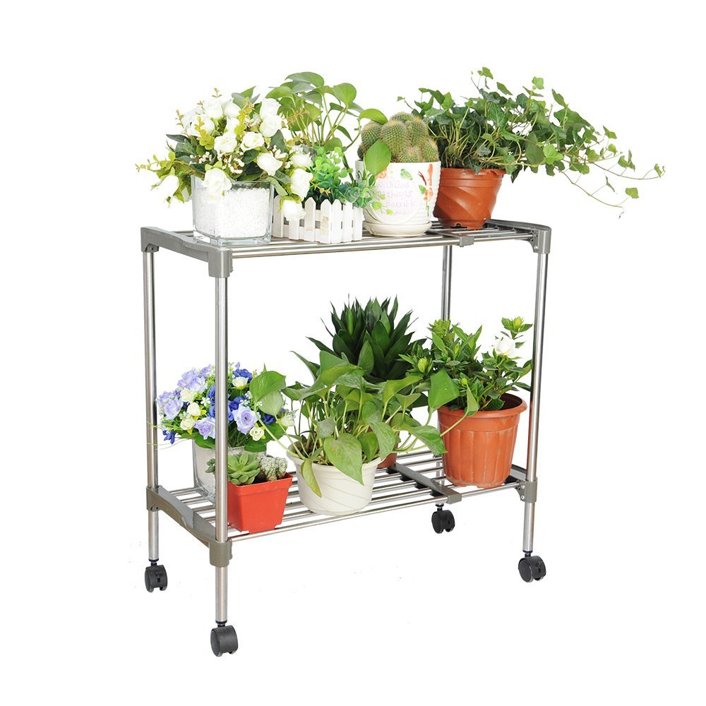 2 Tier Plant Stand Metal Shelves Flower Pot Display Planter Stand Indoor Outdoor Garden Plant Holder DQ5024 strawberry grow bag gardening flower pot planting bag living indoor wall planter garden tool