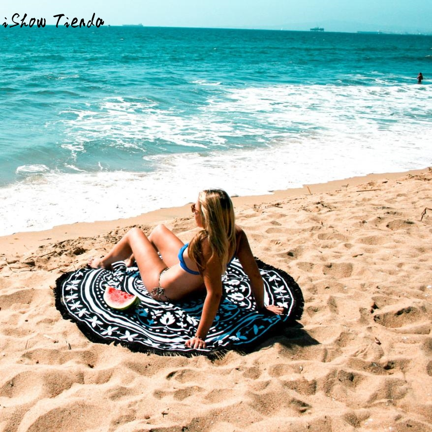 Drop Shipping Beachwear 2017 Round Beach Pool Home Shower Towel Blanket Table Cloth Yoga Mat Swim Suit Cover Saidas De Praia