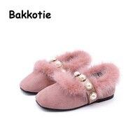 Rasa Bakkotie Moda Bebê Do Inverno Da Menina de Pelúcia Sapatos Princesa Pérola Marca Garoto Silp Em Apartamentos Respirável Criança Negra Bege Suave