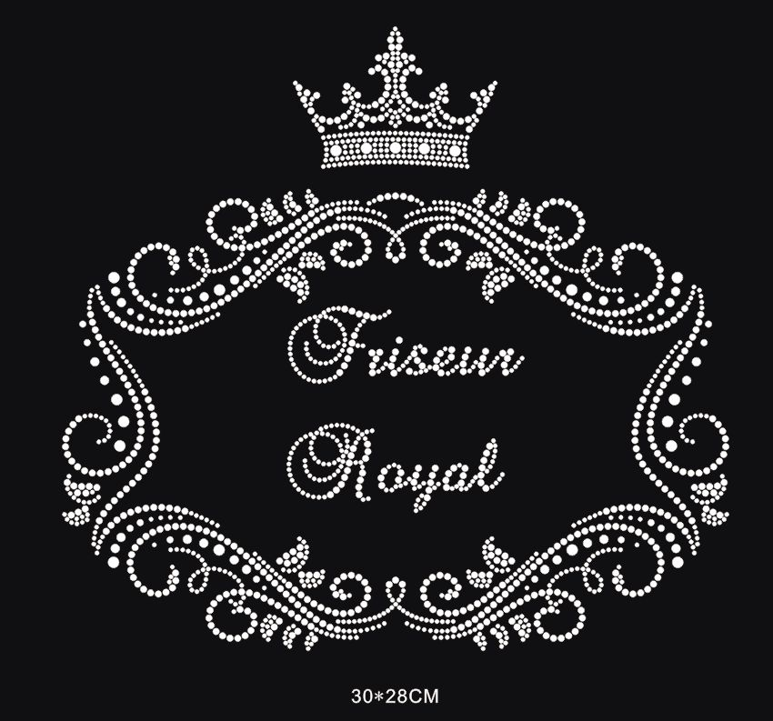 2pc/lot Big Crown hot fix rhinestone transfer motifs iron on crystal transfers design  applique patches