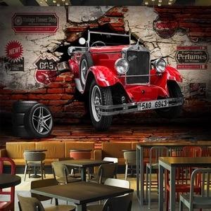 3D настенная бумага в стиле ретро, красная Автомобильная фотообои, настенные росписи для ресторана, кафе, бар, KTV, гостиной, Настенный декор, 3 D