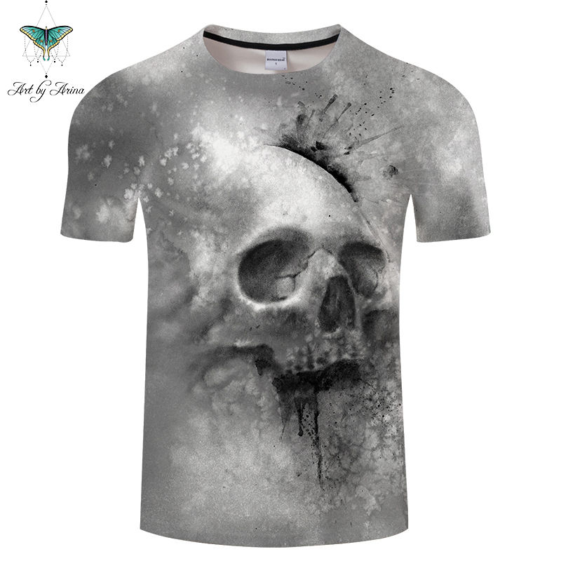 Grey Skull By AeinaArt 3D Print t shirt Men Women tshirt Casual Short Sleeve O-neck Top&Tees Streetwear Camiseta 2018 Drop Ship