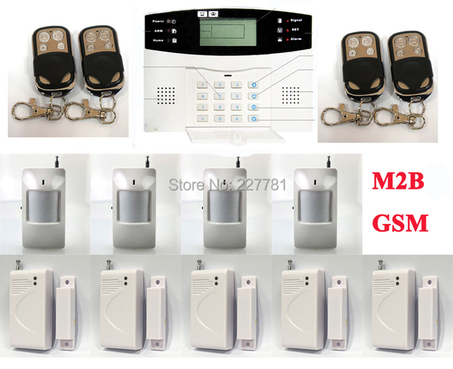 P22 M2B Wireless GSM SMS TEXT Alarm System LCD Screen PIR Motion Door Sensor Kit Remote Control Arm/Disarm