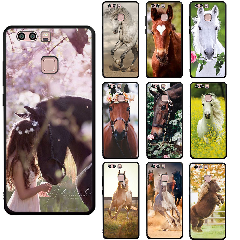 Horse Animal Printed Soft phone cover case for Huawei P8 P9 P10 P20 P30 Mate 30