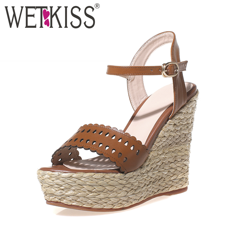WETKISS 2018 Genuine Leather Summer Wedges Sandals Hot Straw Weave Heels Platform Women Sandals Ankle Strap Cutouts Shoes Woman phyanic 2017 gladiator sandals gold silver shoes woman summer platform wedges glitters creepers casual women shoes phy3323