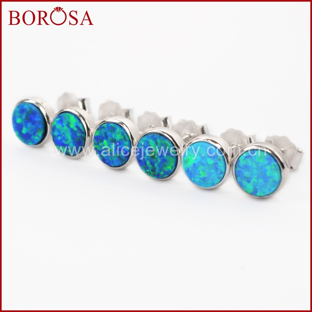 BOROSA New Pure Silver Color Blue Japanese Opal Round Bezel Stud Earrings for Women High Quality Fashion Earrings Gem SS188