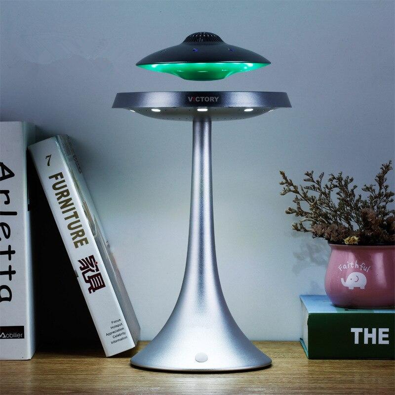 Новинка НЛО Магнитная подвеска Смарт Bluetooth динамик настольная лампа Изменение Цвета Беспроводной левитирующий Bluetooth настольная лампа