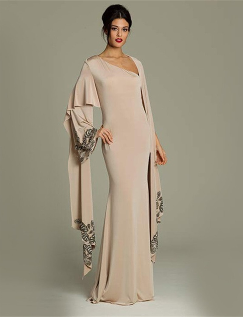 2017 Muslim Evening Dresses Long Sleeves champagne Chiffon font b Hijab b font Islamic Dubai Abaya