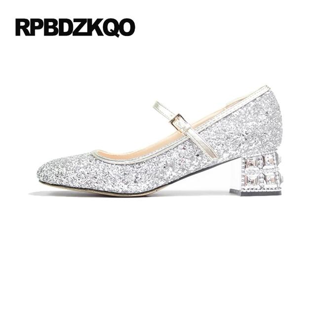 Silver Bridal Crystal Pumps Medium Glitter High Heels Rhinestone Thick Women Bling Wedding Shoes Size 4