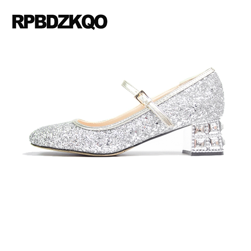 Silver Bridal Crystal Pumps Medium Glitter High Heels Rhinestone Thick Women Bling Wedding Shoes Size 4 34 Mary Jane Sequin 2017