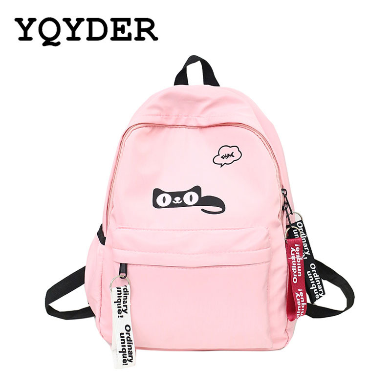 Women Cat Eat Fish Pattern Canvas Backpacks Ladies Alphabet Tassel Zipper Backbag for Teenagers Travel Bags Rucksack School Bags