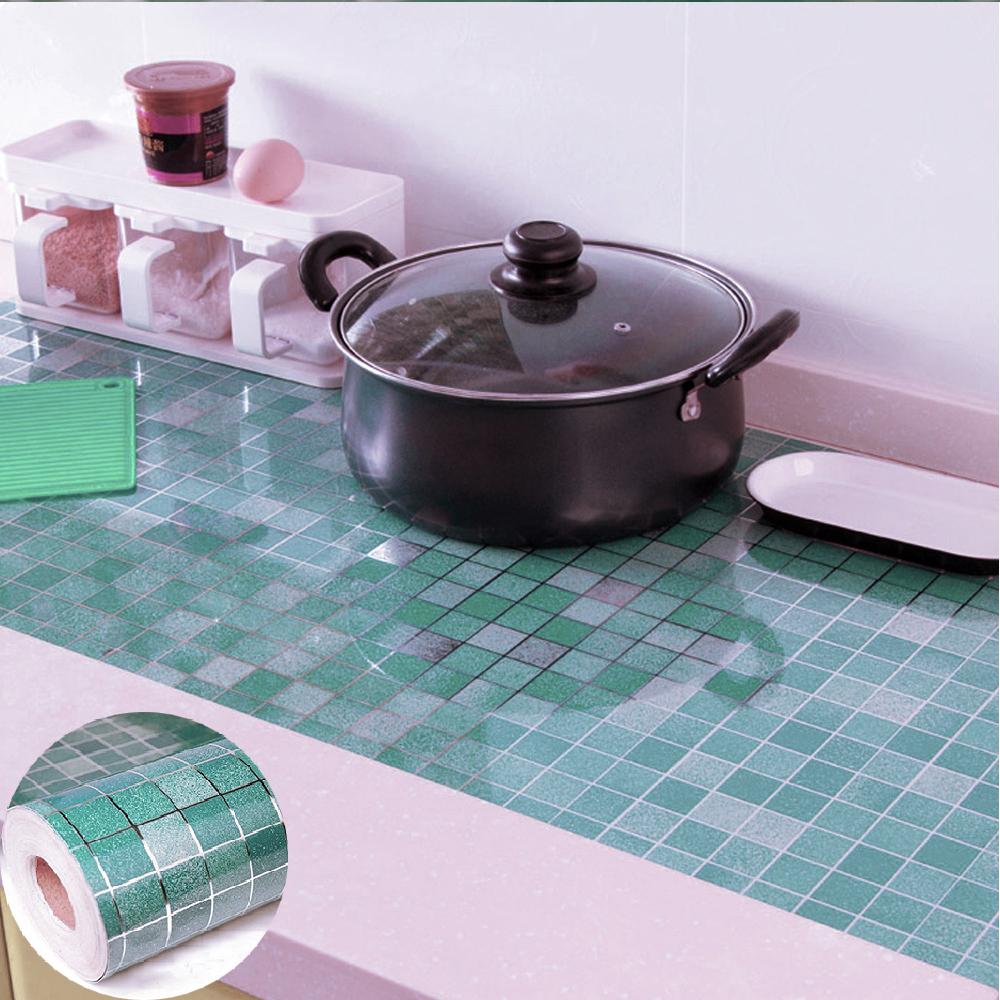 Yazi Mosaic Self Adhesive Waterproof Wall Sticker Vinyl Pvc Anti Oil Bathroom Tiles Stickers Kitchen 3d Blue