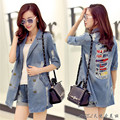 The wholesale supply of new autumn Korean women sleeve holes are loose in the long denim jacket