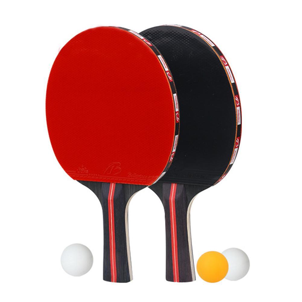 Table Tennis Bat Hand-shake Racket Beginner's Training Ping-Pong Bat Table Tennis Racket Set (2 Rackets + 3 Balls)