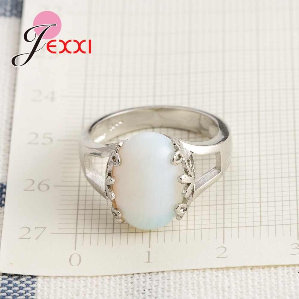 NICE ชุดแต่งงานแหวนสำหรับผู้หญิง 925 เงินสเตอร์ลิงสีขาวโอปอลหินขายส่งราคา Class เครื่องประดับ