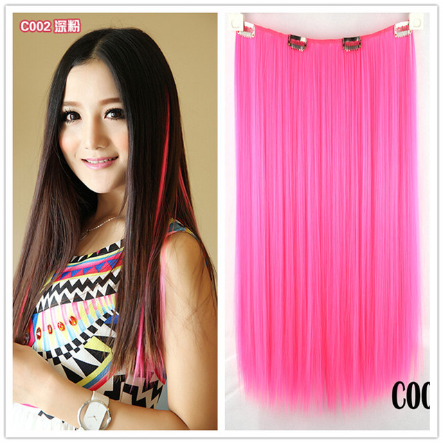 5PCS/LOT 16inch 52g crazy color synthetic hair clip in hair ...