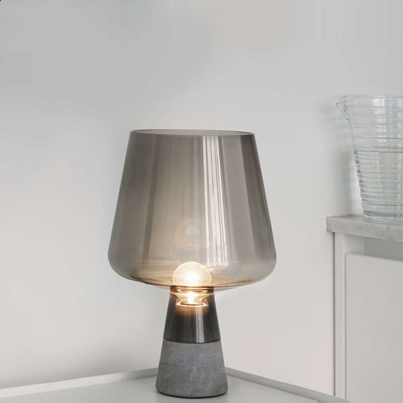 Nordic Table Lamps Glass Cement Table Light Bedside Study