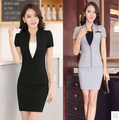 2017 Women Business Suits Cotton Formal Work Above Knee Skirt Suit Uniform Design For Office Ladies Conjuntos Femininos Com
