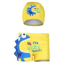 Children Kids boys Cartoon Cute Letter Print Flat-angle Swimming Shorts+Hat Set toddler boy clothes jongens kleding teen clothes(China)
