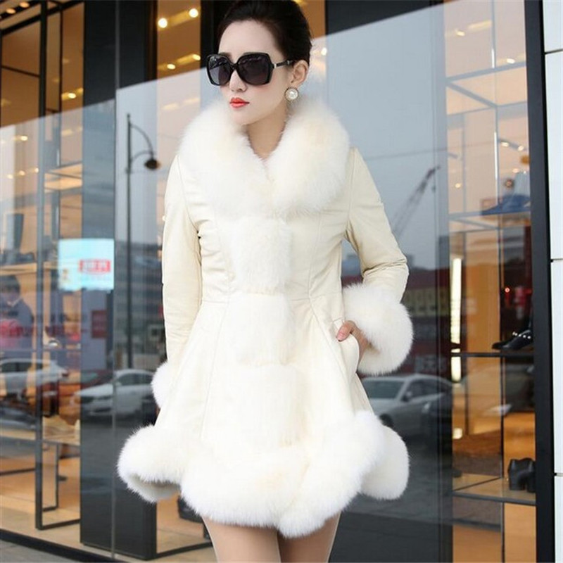 S 6XL Women Winter Faux Fur Coat Long Slim Overcoat Warm PU Leather Patchwork Faux Fox Fur Collar Outerwear Women Elegant Jacket