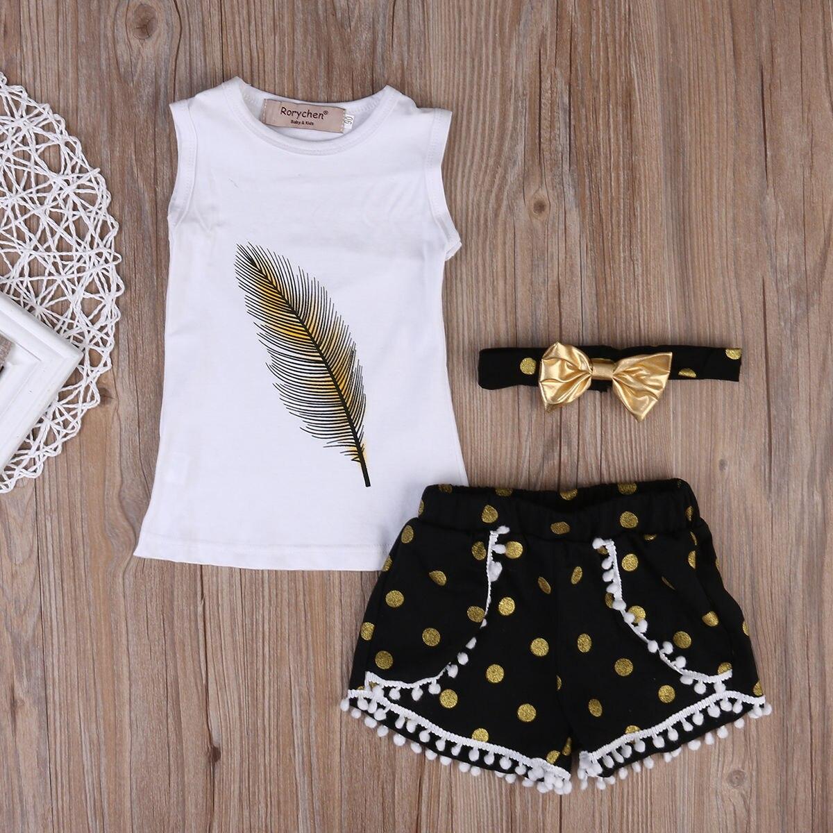 Toddler Kids Girls 3pcs Clothes Children White Sleeveless Feather