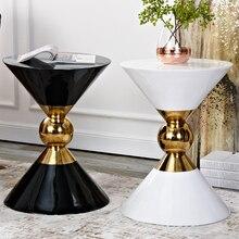 Скандинавский светильник, роскошный диван, журнальный столик, современный маленький круглый стол из стеклопластика, нержавеющая сталь, для гостиной, спальни, прикроватный столик mx6241053