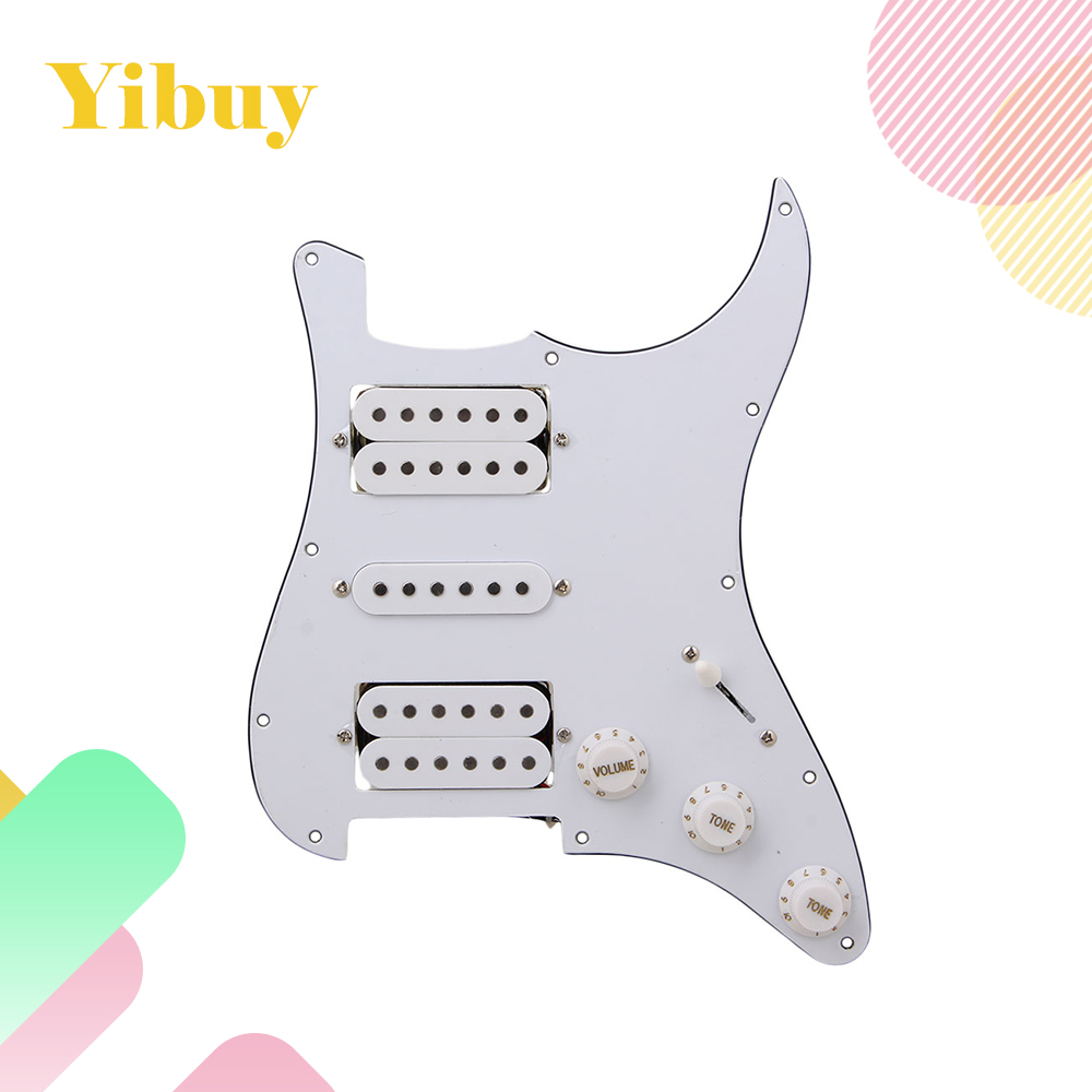 Yibuy Loaded pickguard White HSH For Humbuckers Guitar musiclily 3ply pvc outline pickguard for fenderstrat st guitar custom