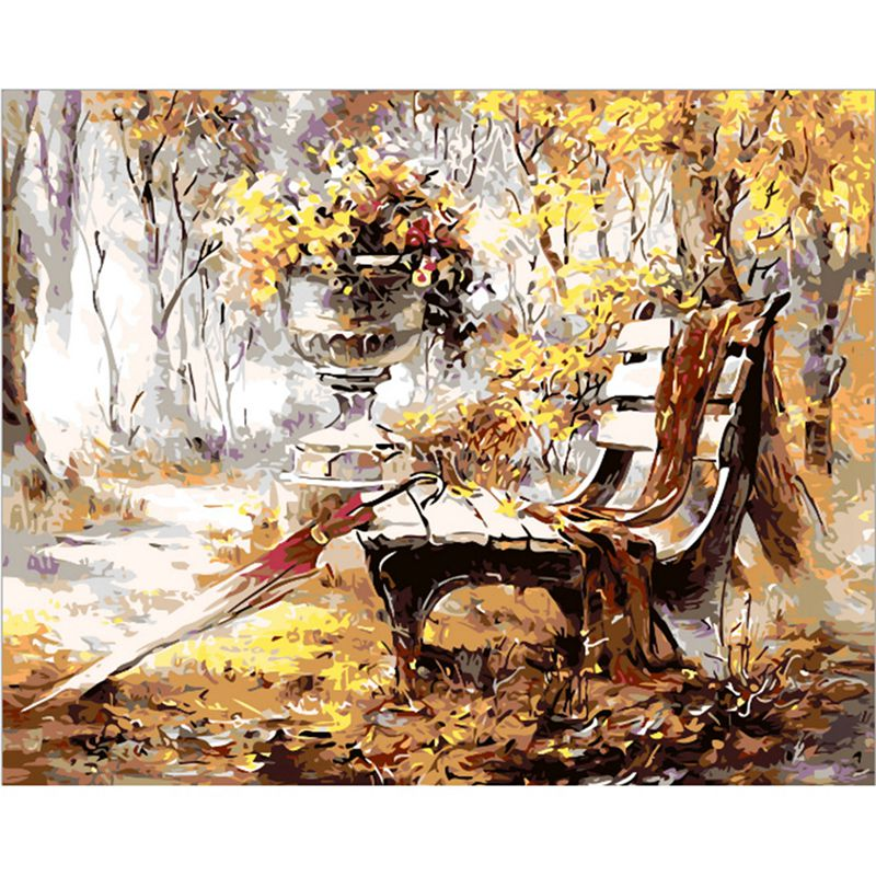 DIY Oil Painting Drawing Pictures By Numbers Kit Park Chair Pattern Wall Hanging 40*50CM Paintings By Numbers On Canvas ...