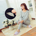 Plus Velvet Winter Female Maternity Sleepwear Nightgown Nursing Clothes Cotton Long-sleeve Sleepwear Set for Pregnant Woman B148