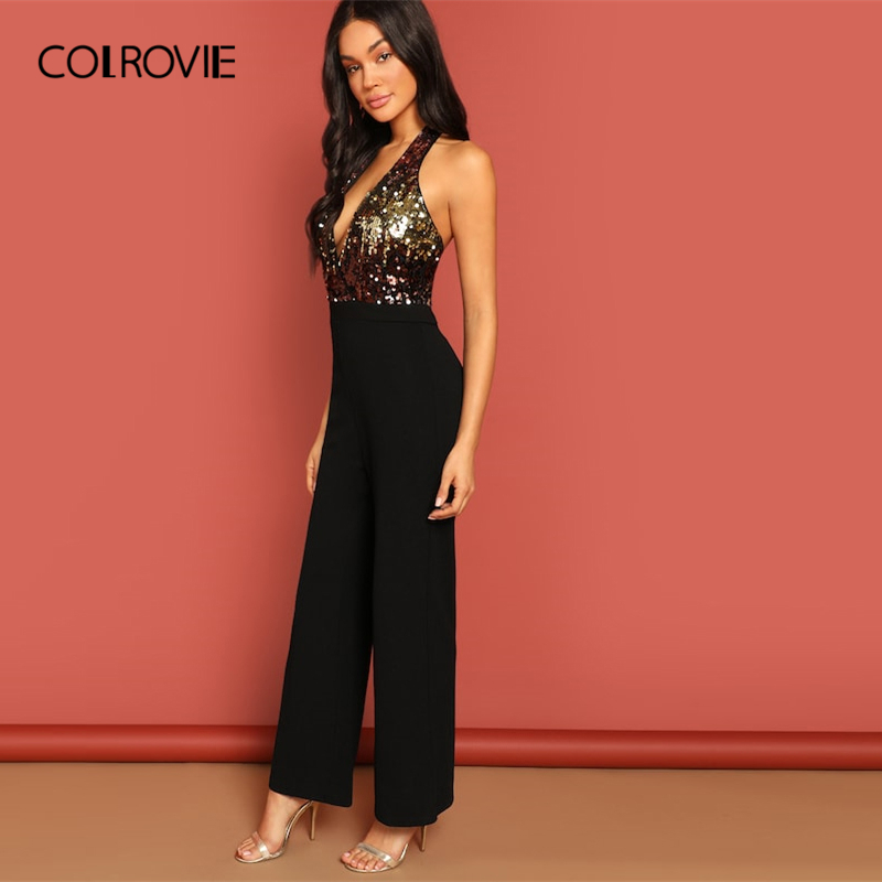7ce078491d4 COLROVIE Black Halter Neck Sequin Bodice Sexy Party Jumpsuit Romper Women  Clothing 2019 Spring Fashion Office Lady Jumpsuits-in Jumpsuits from Women s  ...