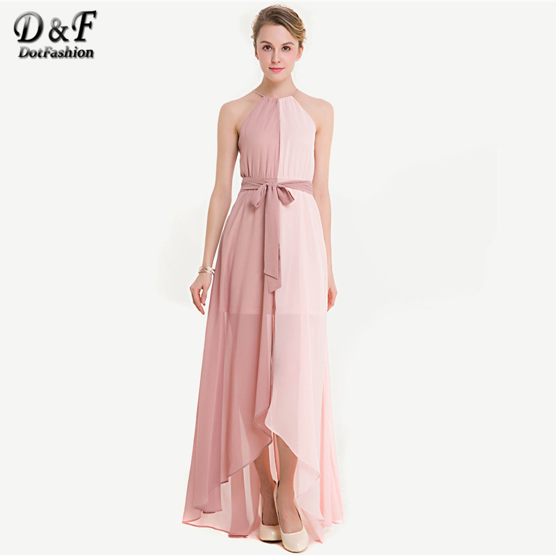 5651ea06ce9 Dotfashion Two Tone Dip Hem Chiffon Dress With Weave Strap Summer Halter  Sleeveless Maxi Dress Women Pink Party Slit Dress-in Dresses from Women s  Clothing ...