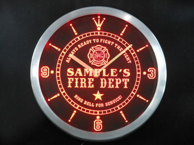 ncqy-tm Name Personalized Custom Firefighter Fire Department Neon Sign LED Clock Wholesale Dropshipping