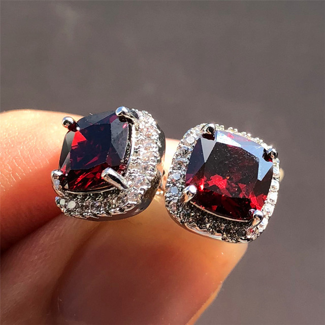 Luxo feminino cristal zircon pedra brincos moda prata cor jóias vintage duplo parafuso prisioneiro brincos para mulher 6
