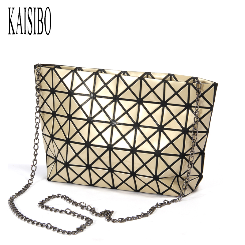 KAISIBO 2018 Fold Over Bags Women Handbags Geometric Clutch Bag Chain Shoulder Bags Messenger Bag Female Fashion Make Up bags