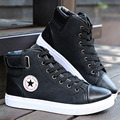Hot Men Shoes PU Leather 2016 Autumn Winter Men High Top Casual Canvas Shoes Sapatos Man Fashion Buckle Leather Flat Boots