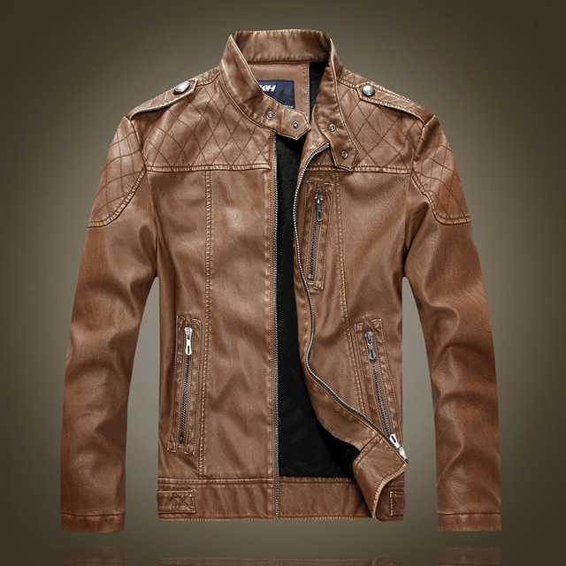 2016 New Fashion Winter Soft Pu Leather Jacket Men Motorcycle Jacket Warm Wool Liner Coat Men Winter Leather Jacket Faux Fur