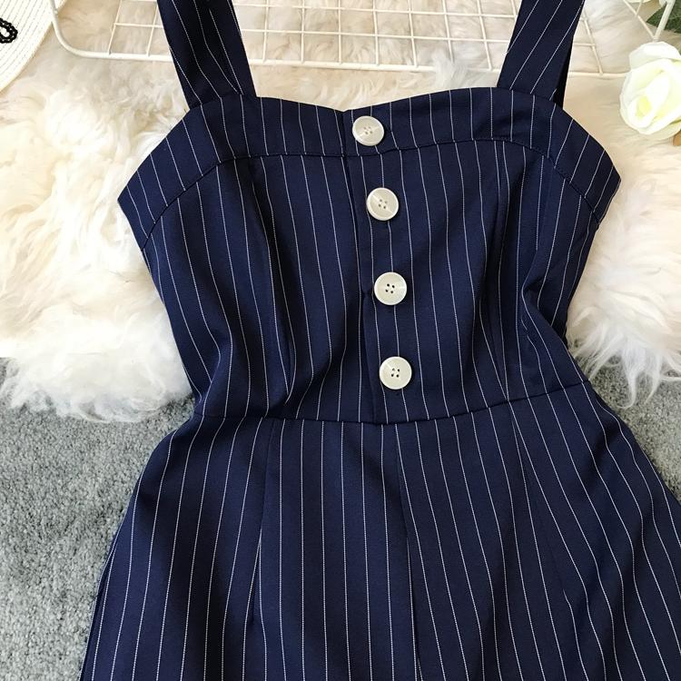 2019 Spring and Summer Korean New Stripe High Waist Open-back Jumpsuit Women Sleeveless Broad-legged Overalls G794 38