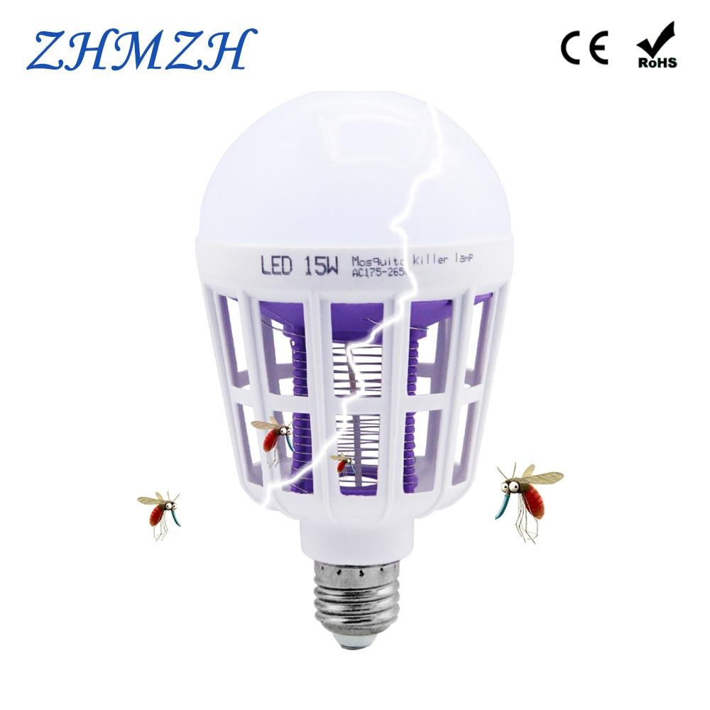 Dual Used 15W LED Bulb E27 Mosquito Killer Lamp 110V 220V Mosquitoes Repellent Killing Lighting Bug Zapper Energy Saving Lamps