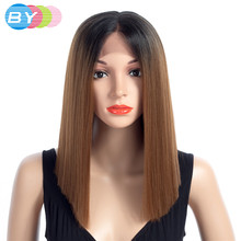 BY Hair Straight Synthetic Hair Lace Front And T Part Wig 16 Inch Bobo Wigs For Women 8 Colors Ombre Hair Choice Cosplay Wig(China)
