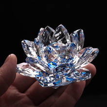 85mm Blue Quartz Crystal Glass Lotus Flower natural stones and minerals Feng Shui Crystals flowers For Home wedding Decor crafts