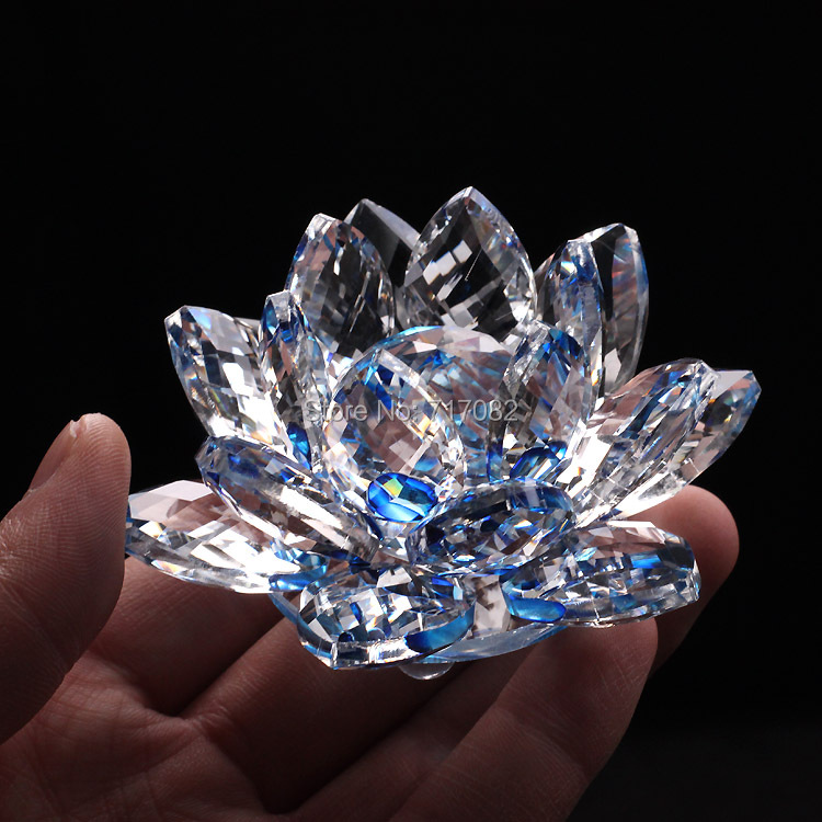 90mm Blue Quartz Crystal Glass Lotus Flower natural stones and minerals Feng Shui Crystals flowers For Home wedding Decor crafts