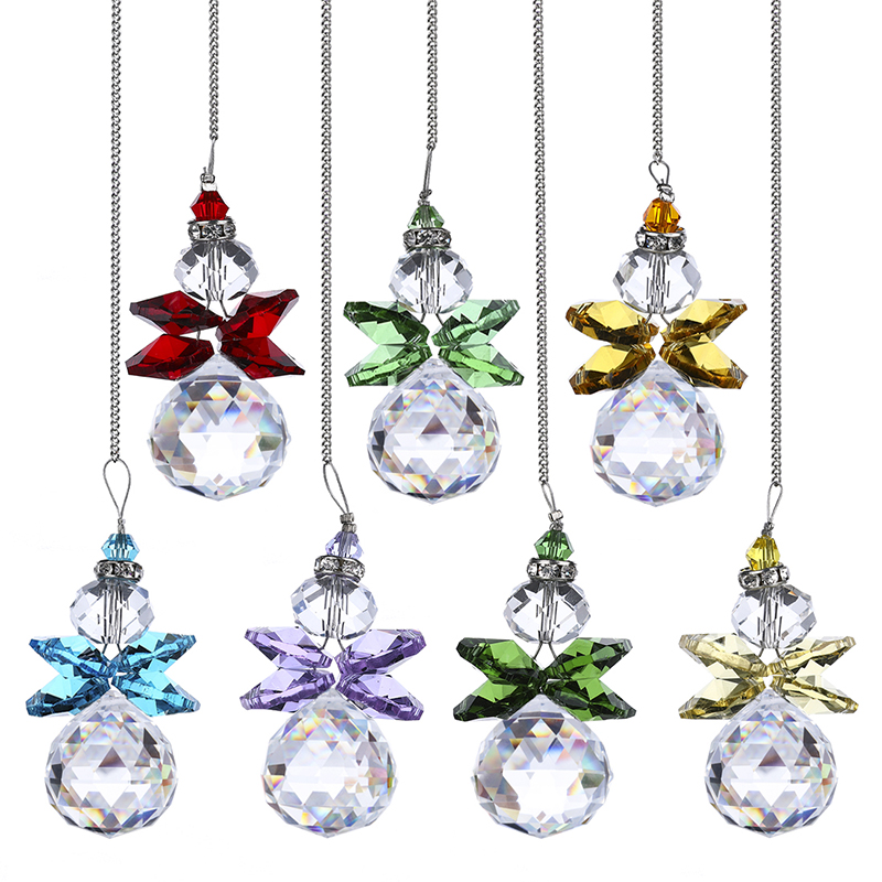 H&D 7pcs Crystal Angel Suncatcher Clear Crystal Ball Prism Window Hanging Sun Catcher Home Garden Decor Christmas Tree Ornaments