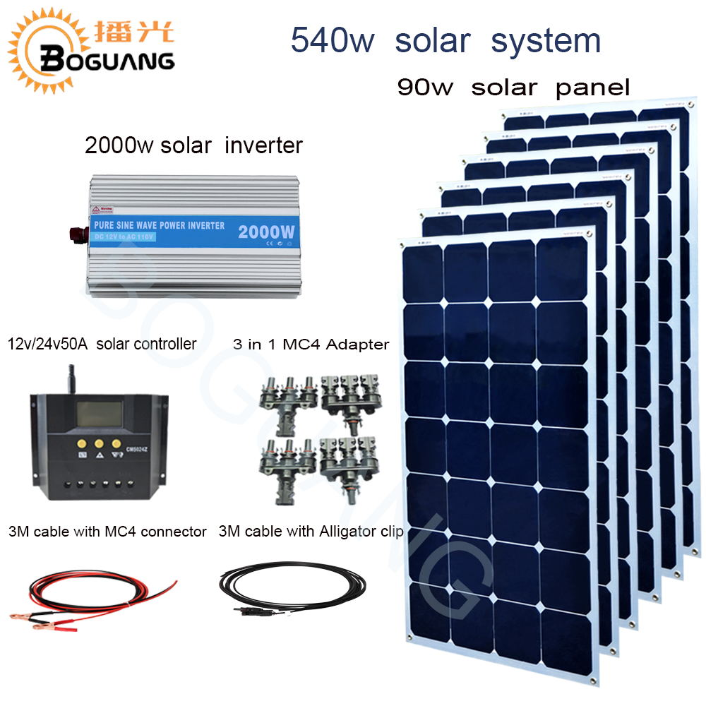 BOGUANG 540w solar system 90w Aluminum solar panel 2000w inverter 50A controller MC4 connector cable for 12v battery charge boguang 500w semi flexible solar panel solar system efficient cell diy kit module 50a mppt controller adapter mc4 connector