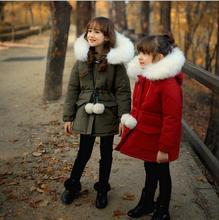 Thick Winter 2016 Kids Jackets Coats Hooded Faux Fur Collar Children Clothing Cotton Padded Snowsuit Baby Girls boys outerwear