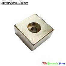 2 шт. Super Strong 50×50 х 20 мм С Отверстием 10 мм Редкоземельные Блок Магнит N52 бесплатная Доставка