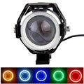 Один пк кри U7 из светодиодов водонепроницаемый мотоцикл мотоцикл фар из светодиодов DRL противотуманные фары пятно света лампы 5 цвет угол глаза + дьявол глаза