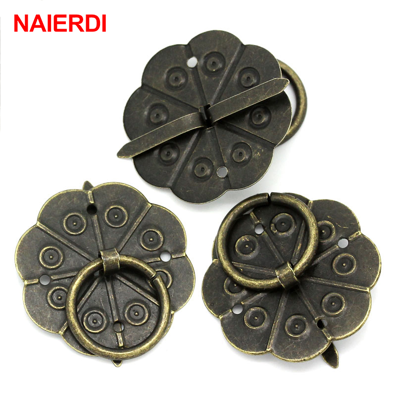 NAIERD 10pcs Classical Bronze Tone Quincunx Drawer Cabinet Desk Door Pull Box Handle Knobs Furniture Handles Hardware With Screw